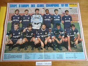 AFFICHE POSTER ONZE ** TIGANA BORDEAUX EQUIPE 1987 1988 MARSEILLE ** FOOTBALL