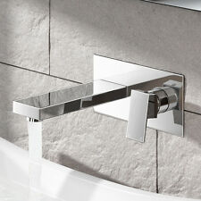 Square Wall Mounted Modern Sink Chrome Lever Basin Mixer Tap TB3206