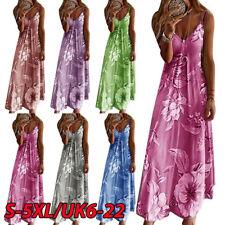 Womens Summer Floral Long Dress Ladies Boho Beach Holiday Maxi Dress Size 6-22