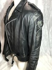 Xelement Black Real Leather Padded Biker Motorcycle Jacket Zip-out Liner SIZE XL