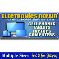 COMPUTER REPAIR BANNER sign cell phone tablet electronics 001