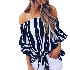 Fashion Women Off Shoulder Casual T-Shirt Tops Ladies Summer Loose Shirt Blouse