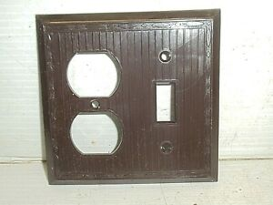 1 Old Vintage Fancy Ribbed Brown Outlet Switch Plate Cover Combo NOS Bakelite