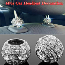 Chrome 4Pcs Autos Crystal Headrest Collars Decoration Car Interior Accessories