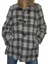 Hip Length Check Button Tweed Coats & Jackets for Women