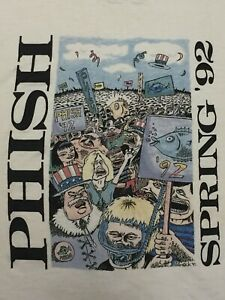 Phish Original Pollock Vintage 1992 Spring T Shirt Pre Dry Goods XL Sized L Fit