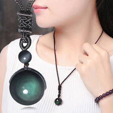 Men Women Retro Weaving Necklace Obsidian Stone Lucky Pendant Jewelry