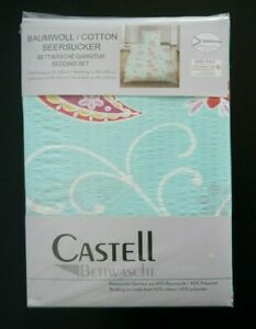 Castell Seersucker Bettwäsche 4 tlg 135x200 RV Paisley türkis bunt