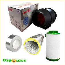 "HYDROPONICS 6"" INLINE VENTILATION KIT - FAN + ACOUSTIC DUCTING + CARBON FILTER"