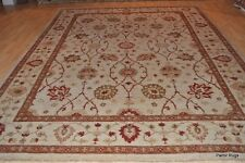 9' X 11' TOP quality beige background, rust, brown, gold, green, gray, chobi rug