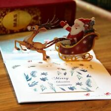 3-D Pop-Up Christmas Card with Santa and Sleigh