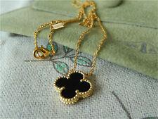 AUTH Van Cleef & Arpels 18K Yellow Gold Vintage Alhambra Onyx Necklace
