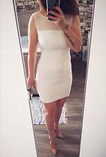 ZARA Women's Off White Cream Summer Mini Party Cocktail Pencil Dress Size 8 XS