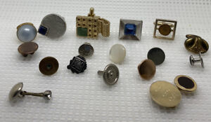 Odd Lot Vintage Unmatched Cufflinks, Tux Studs, Button Covers Junk Drawer