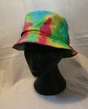 Handmade Tie Dye Bucket Rave Hat Rainbow Multi Colour Festival