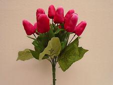 "FUCHSIA Tulip Bush 12 Artificial Silk Flowers 15"" Bouquet 2329FU"