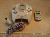 Official Sega DreamCast Controller & VMU Visual Memory Unit Card Needs Battery