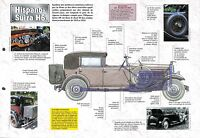 Hispano-Suiza H6 B Limousine Luxe France Retro 1920 Car Auto FICHE FRANCE