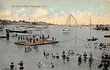 c.1910 Water's Fine Swimming in Harbor Highlands NJ post card