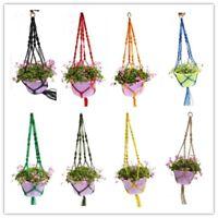 Braided Window Garden Holder Basket Plant Pot Rope Hanging Hanger Macrame Jute