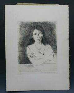 Signed Vintage Portrait Drypoint Etching Print of a Woman by Raphael Soyer