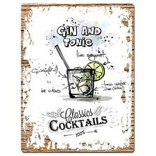 PP0692 Cocktails Gin and Tonic Plate Sign Home Bar Store Restaurant Decor