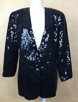 Oleg Cassini Black Sequins Jacket 100% Silk  Stunning Trophy Jacket Sz 4