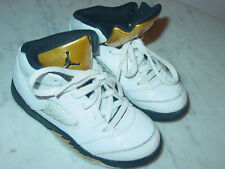 2016 Nike Air Jordan Retro 5 White/Black/Gold Coin Toddler Shoes Size 10C