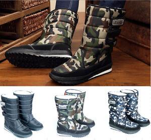 Mens Waterproof Snow Boots Winter Warm Outdoor Mid-Calf Kids Platform Shoes