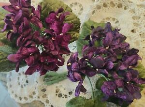 Violets Velvet Flowers Leaves 1 Bouquet Made in Thailand