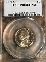 1983 S JEFFERSON NICKEL PR68DCAM PCGS Certified
