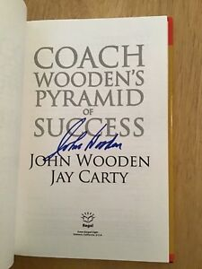 SIGNED by John Wooden - Coach Wooden's Pyramid of Success HC 1st/1st + Pic UCLA