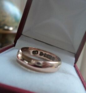 Edwardian 9ct Rose Gold Wedding Ring h/m 1903 Chester John Gammage  size Q to R