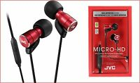 JVC HA-FRD60 RED Micro HD In Ear Headphones With Mic Remote Switch / ORIGINAL