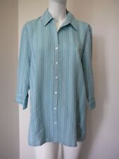 Expression Womens Shirt Plus Size 18 Top 3/4 Sleeve Striped Blue NEW