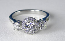 1.50 Carat GIA CERTIFIED E VS2 Genuine Diamond 3-Stone Ring – 14KT White Gold