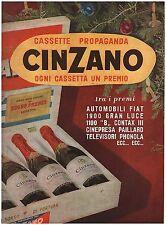 PUBBLICITA' 1953 CINZANO VINO SPUMANTE CASSETTA CONCORSO A PREMI NATALE DRINK