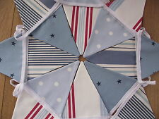 NAUTICAL SEASIDE BOYS  BUNTING with Clarke and Clarke Stripe, Star & Spot15flg