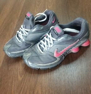 Nike Shox Turbo 8 Women's 8.5 Running Shoes Gray Pink Silver 344948-061 Used