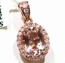 1.74CT 14K Gold Natural Morganite White Diamond Vintage Engagement Necklace Deco