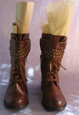 Wild Diva Faux Leather Moto Motor Steampunk Boots Studs Buckles Flap Lace Sz 9