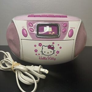 Hello Kitty CD Cassette Player Boombox Stereo Radio Tape Recorder KT2028A Read!