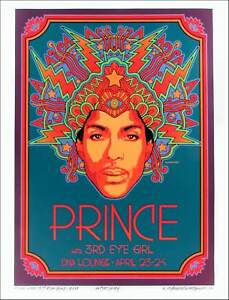 Prince Poster for 2013 DNA Lounge Appearance Hand-Signed A/P by David Byrd COA