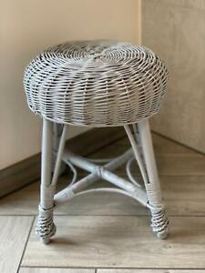 Grey Wicker Footstool / Handmade Rattan Plant Stand / Tea Coffee Table Sidetable