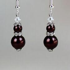 Chocolate brown pearls crystal vintage silver drop wedding bridesmaid earrings