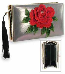 Flower Embroidered  Wristlet Zipper Clutch Metal Frame Clutch Handbag