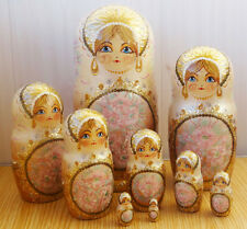 Nesting doll matryoshka GOLD big beautiful handpainted handmade unique - 97d