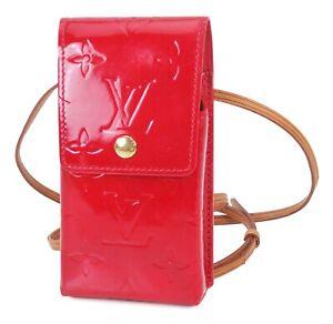 Authentic LOUIS VUITTON Red Vernis Cigarette Case Shoulder Pouch #38894
