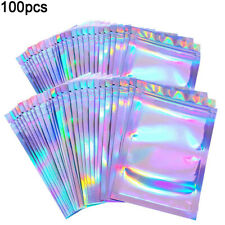 100Pcs Clear Holographic Laser Seal Bags Eyelashes Package Storage Pouch Utilit