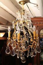 Grand lustre cage en bronze et pampilles de cristal à 6 feux de style Louis XV